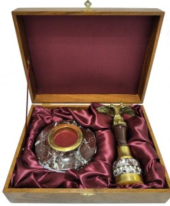 Подарочная золотая оснастка для печати в подарочной дерев.коробке